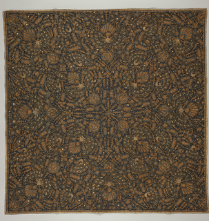 "Square textile (may be a head cloth or 'kain kepala') with symmetrical ""semen"" (non-geometric forms like flora and fauna) design. Featuring ""sawat"" motif (wings and tail of Garuda, mount of Vishnu), crayfish, birds, etc. in cinnamon brown with a few white accents, dark blue crackles, and all on a very dark blue ground."