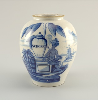 "Ovoid body, short neck with everted rim; painted in underglaze blue on white with American Indian smoking a pipe, next to a large jar inscribed ""Schosse,"" large tobacco plant overhead, crates and barrels left, one inscribed ""VOC,"" two sailing ships on right."