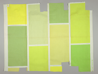 White plain weave printed with large vertical rectangles in bright green, bright yellow, warm yellow, yellow-green, medium green, and pale yellow-green. Number 485.