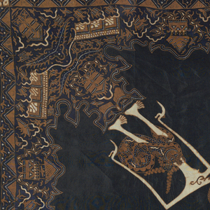 "Silk square in black, dark blue, brown, and cream-white. Shows four ""wayang"" figures facing diagonally toward center, one of which has a different pattern on his sarong. Outer border and center ornamented with ""ship of the dead"" and ""sawat"" (wings and tail of Garuda, mount of Vishnu) motifs, as well as architectural structures."