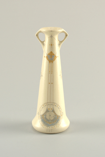Vase with wide base and narrow top; angular double handles confined to upper section. Decorated with mustard yellow and blue symmetrical abstract motifs.