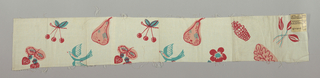 White plain weave printed with cherries, pears, strawberries, flowers, leaves and birds in red, pink and turquoise.