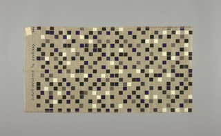 Light brown plain weave printed with squares of black, dark grey, dark blue and white. No number.