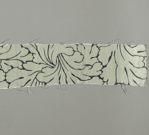 Five small pieces of printed satin. Incomplete design of very closely spaced acanthus leaves outlined in gray-blue.