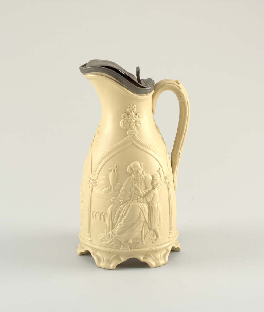 """Ewer with pewter lid (slightly bent) in bisque color.  After  Copley's """"Infant Samuel in his Father's Workshop"""""""