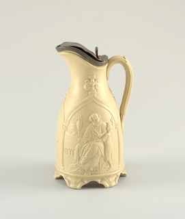 "Ewer with pewter lid (slightly bent) in bisque color.  After  Copley's ""Infant Samuel in his Father's Workshop"""