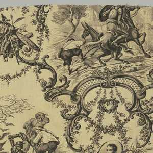 "Cream colored cotton, printed in black. Scenes from Don Quixote. Elaborate enframents in rococo style for various episodes. On grouped emblems inscriptions: Amadis de Gaula, Ami Dulcinea"". On another: ""Post Tenebras Spero Lucem, Galatea, Buscapia, etc."" Both selvages present. Each scene about 0M260 high (10 1/2"")."