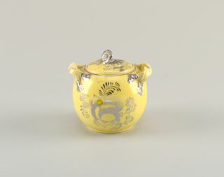 sugar bowl, sperical form  Lid is also with bowl, numbered with components, b is lid