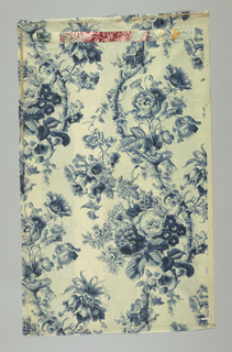 Large scale naturalistic flower clusters springing from scrolling vine, printed in shades of blue. Background pattern of minute leaf designs printed in blue outline, arranged in perpendicular bands. Across top is sewn, by machine, row of small samples showing colorways in which pattern is reproduced. Piece possibly a merchant's sample.
