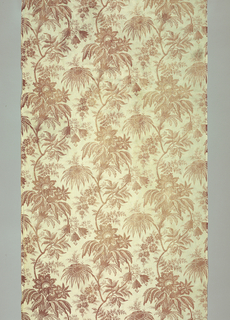 Floral print with exotic flowers; large scale pattern repeat. Colors: lavender faded to brown.