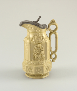 """Minster"" jug with pewter lid in ercu (green-beige)  by Charles Meigh."