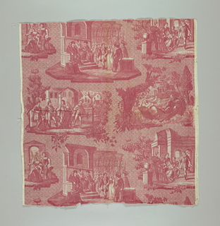 Four scenes (all captioned in French) of the story of Clara. One scene would only be complete when lengths were sewn together. In red on white.