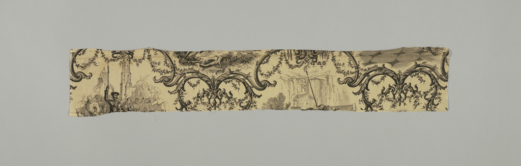 """Cream colored cotton, printed in black. Scenes from Don Quixote. Elaborate enframents in rococo style for various episodes. On grouped emblems inscriptions: Amadis de Gaula, Ami Dulcinea"""". On another: """"Post Tenebras Spero Lucem, Galatea, Buscapia, etc."""" Both selvages present. Each scene about 0M260 high (10 1/2"""")."""