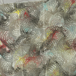 Three samples of marbleized silk. Pattern J0422.