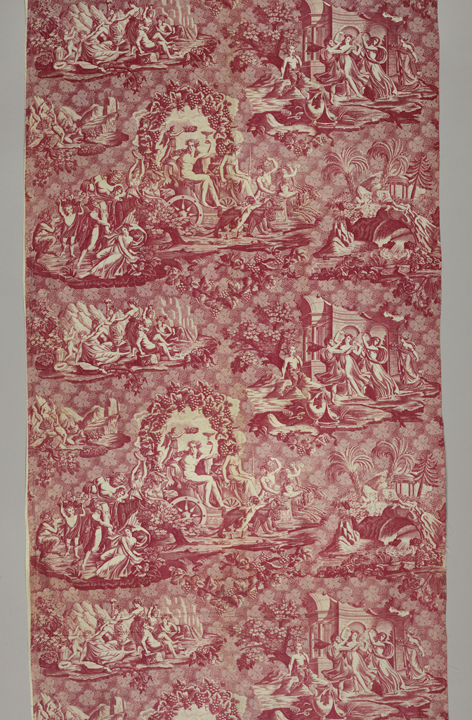 Bacchanalian scenes showing Dionysius (Bacchus) and Ariadne riding  in a chariot drawn by panthers and goats in the center surrounded various scenes associated with the legend of Dionysius. In red on white.
