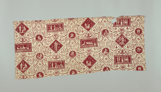 Small cartouches (circle, horizontal rectangle, and diamond) on an elaborate foliate background. In red on white.