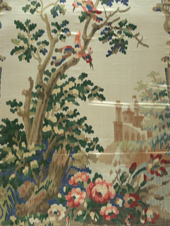 Landscape with architectural elements and birds. Blurred outline. Multi-color on ivory.