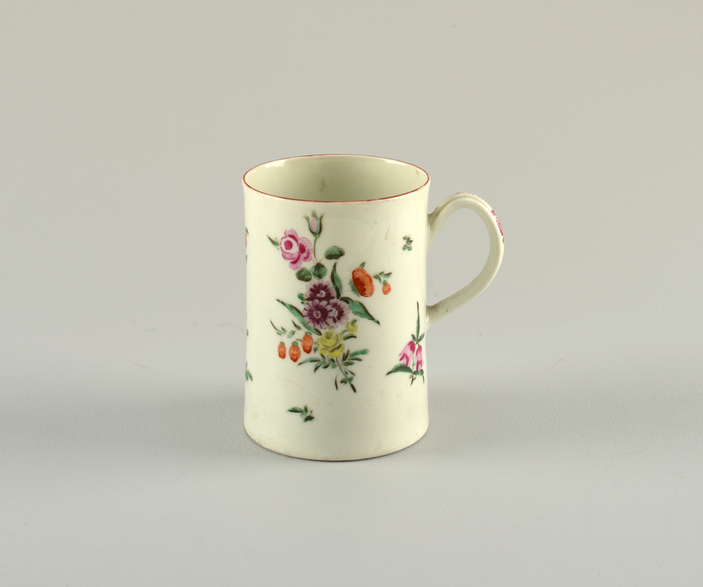 Mug decorated with scattered flowers.