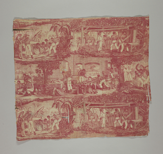 Scenes, perhaps after prints, of life on a sugar cane plantation. In red on off-white.
