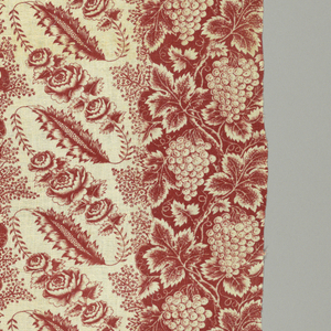 Cotton print; red on white; vertical stripes alternating red and white with realistic flower and fruit designs. Two pieces sewed together. Edges bound with linen and rings attached to top for hanging.