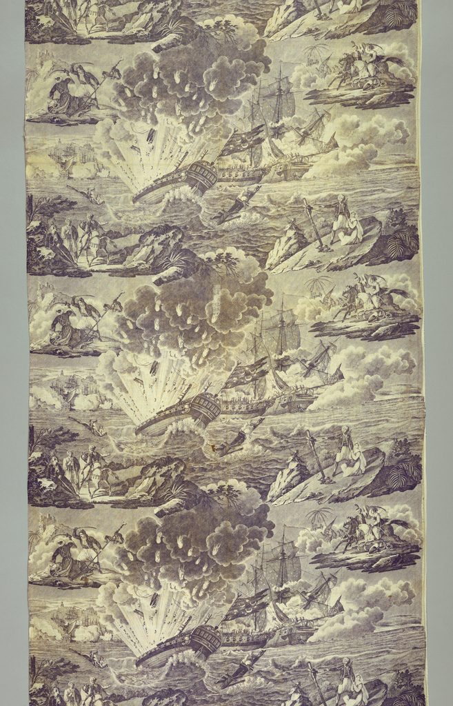 Battle scenes in Algeria (?) with a large ship being blown up dominating the center.