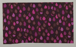 A tear drop pattern of strong pink, mauve and brown against a brown ground which is over-printed in dark brown with pink touches.