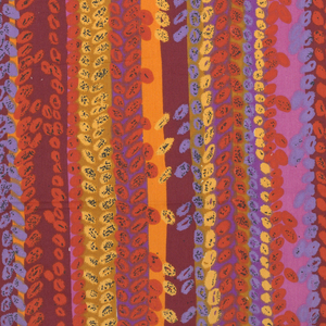 Printed in design of perpendicular arrangements, small oval leaf and uneven stripes in strong reds, orange, blue, mauve and yellow.