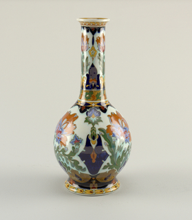 Globular, with long neck, painted with Persian-inspired polychrome decoration.