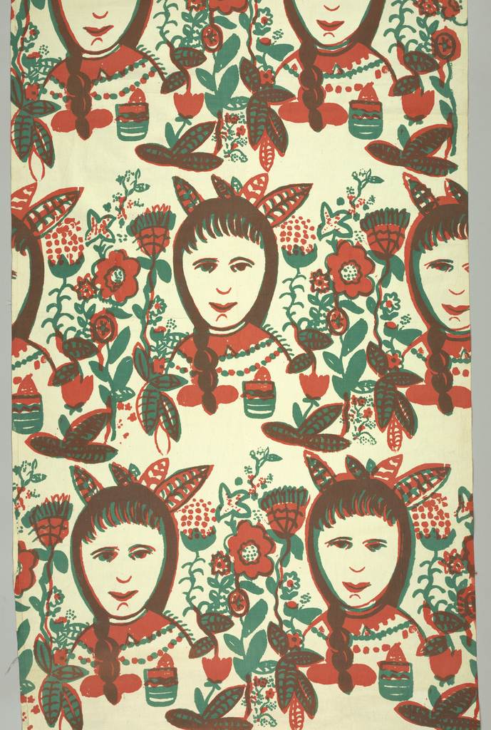 Brick repeat of face of an Native American Indian girl with flowers on either side. Printed in two colors: rust and dark green (rust over green for brown).