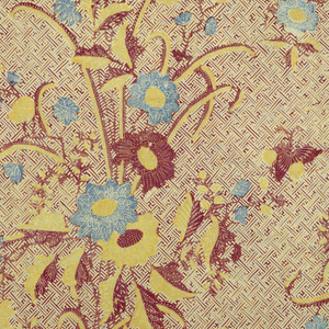 """Batik sarong in red, blue, yellow, and cream color. Shows an all-over """"banji"""" motif (swastika variation) with butterflies around a large-scale floral pattern (""""buketan"""" motif), at intervals. Scalloped floral borders (a North Javanese batik innovation) within another border."""