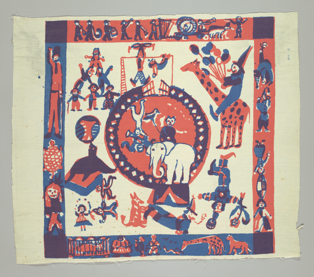 Square with circus scene with acrobats, clowns, an elephant, and seal in center ring with circus performers and animals outside ring in red purple, and blue on white background.