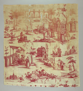 Motifs showing country occupations and a scene of chateau park with tight-rope walker entertaining groups of people.