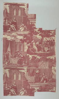 "Straight repeat of four narrative illustrations filling full width of fabric. The scenes refer to Diane de Poittiers and Henry II in the 16th century. Length of repeat: 92.5cm. (36 3/8"").  Lengths of fabric would continue the pattern as a half drop."