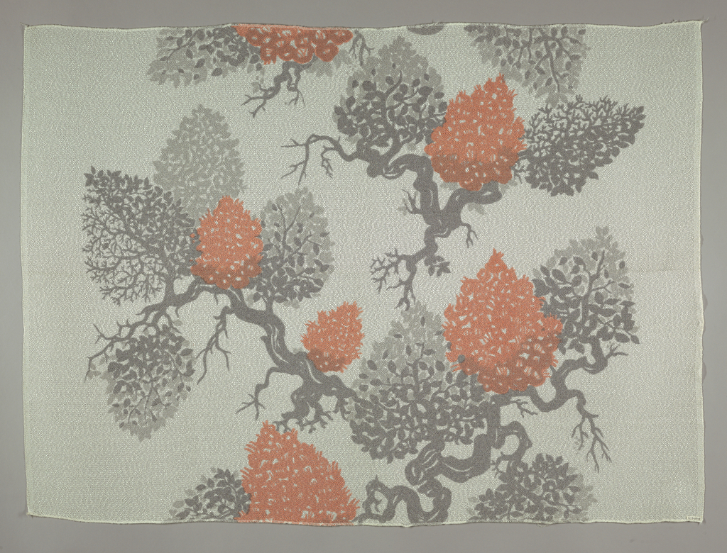 Sheer white rayon in an open mesh weave, printed in rose and gray in a design of a shrub with exposed roots.