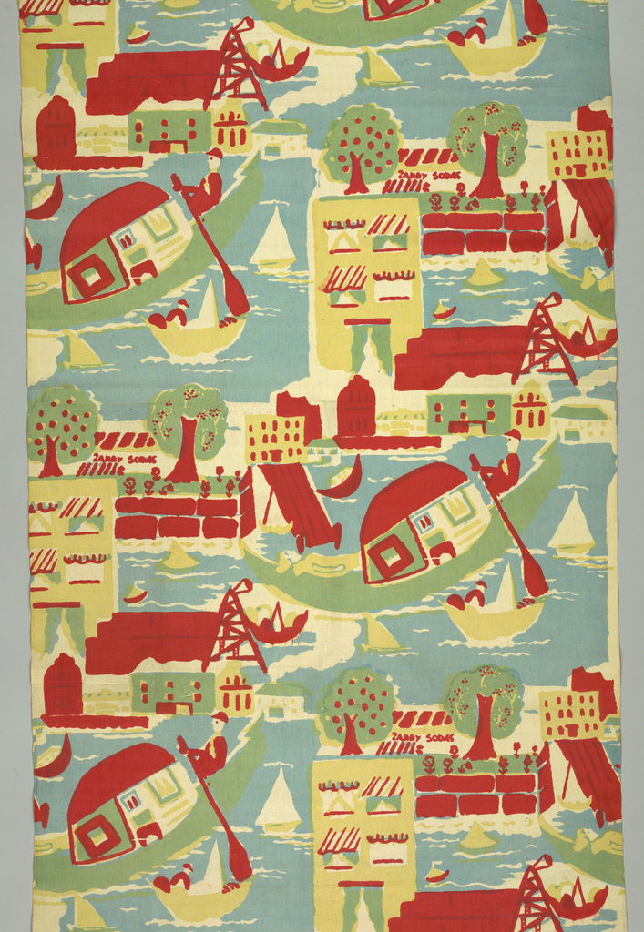 Half drop repeat of street and water scene with man in gondola silk screened in three colors: blue, yellow, and red (yellow over blue for green).