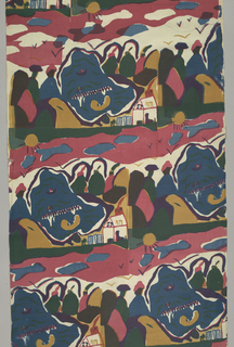 Repeated one-quarter off-set horizontally: two people sitting by water with house, boats, and sun in background in red, blue, yellow, green, purple, and black. Silk screened in three colors: red, blue, and yellow. Yellow over blue for green, and red over blue for purple.