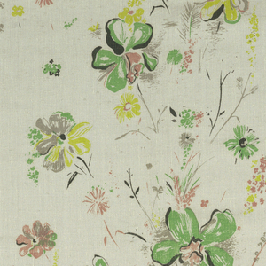 Flowers in green, rose and gray scattered on a white ground.