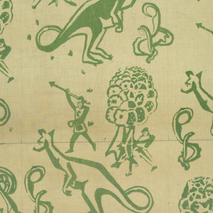 Repeat of men with spears hunting a kangeroo with trees in green on white ground. Repeat meant to be a one-third vertical offset.