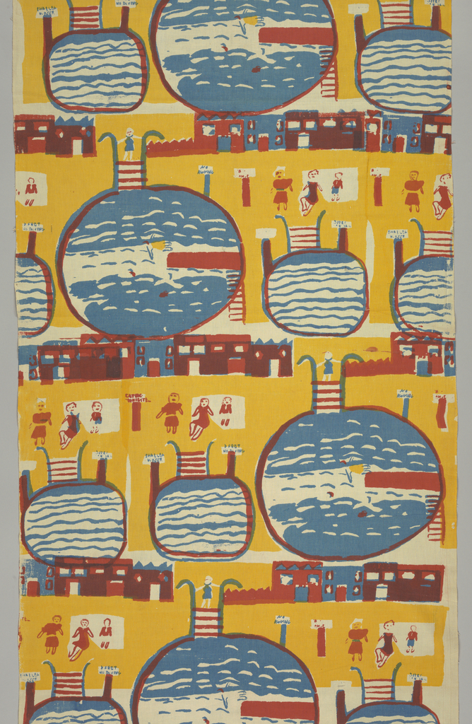 Bathers and swimming pools repeated one-third offset horizontally. Printed in red blue, yellow (red over blue for purple).