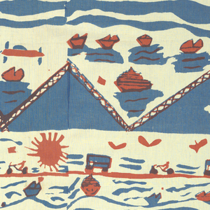 Beach scene in horizontal format, printed in blue and orange.  The right side is not a complete repeat of the left side.