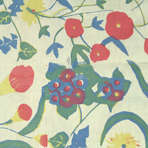 Brick repeat offset one third of simply drawn flowers including ivy and morning glories. Printed in blue, yellow, rose (yellow over bleu for green and red over blue for purple).