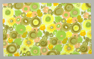 All-over pattern of stylized flower heads and leaves, in light green, olive-green, yellow, orange-pink, on white ground.