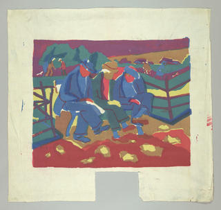 Single rectangular scene of three men sitting on a park bench. Screen printed in four colors: red, yellow, blue, and brown (red over blue for purple, yellow over blue for green, plus combinations of yellow and brown; and red, yellow, and brown.