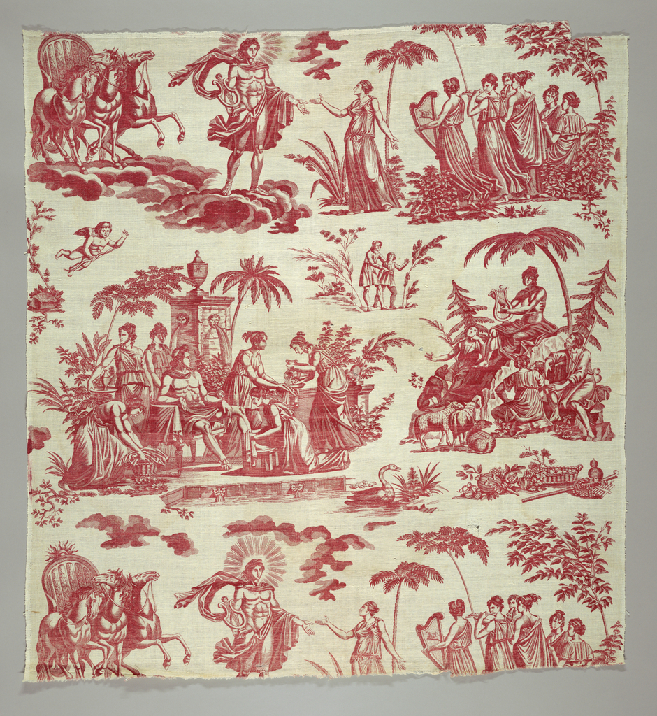 Panel of cotton, plate-printed in red. Design shows Apollo, the Sun God, and the Muses. Below, Apollo playing the Lyre.