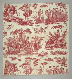 Panel of cotton, plate-printed in red. Design shows Apollo, the Sun God, and the Muses. Below, Apollo playing the Lyre.  Apollo descending from the sun chariot is represented as the god of music holding a lyre and presiding over nymphs. Apollo at his bath recalls statues by Girardon and Reynaudin in the park at Versailles dating from th e1680's.