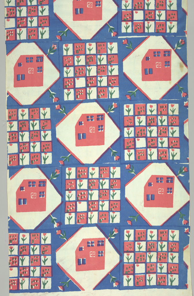 Alternating blocks printed in pink, blue and green.  One block is a stylized house and the other block consists of alternating blocks of the house and a stylized flower.