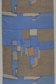 Abstract shapes based on the square. Three shades of blue, three shades of brown and lavender.