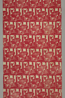 Offset units of landscape with goats printed in red.