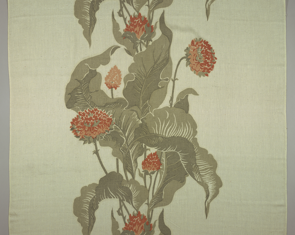 Cream white fabric screen printed in a large-scale design of tropical flowers and leaves forming a vertical column, in shades of rose and gray.