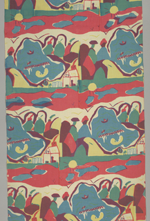 Repeated 1/4 off-set horizontally: 2 people sitting by water with house, boats, and sun in background in red, blue, yellow, green, purple, and black. Silk screened in three colors: red, blue, and yellow. Yellow over blue for green, and red over blue for purple.